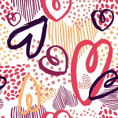 Vector  pattern with hand drawn hearts.