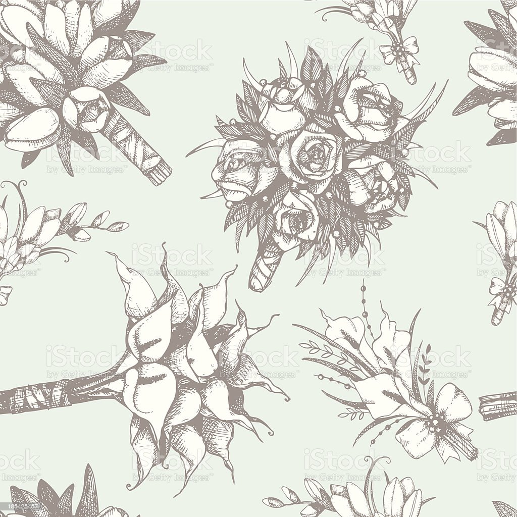 Vector pattern with hand drawn wedding bouquets vector art illustration