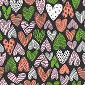 Vector seamless pattern with hand-drawn hearts.