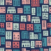 Hand drawn cute  houses.  Vector  seamless pattern.