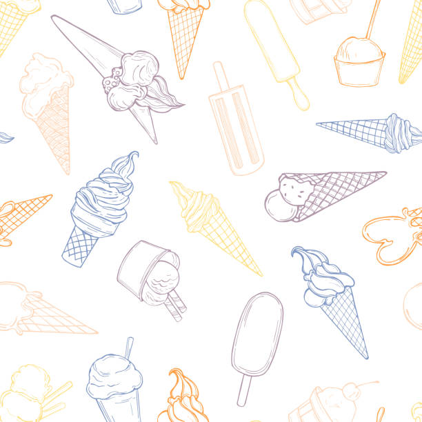 Vector   pattern with  ice cream. Hand drawn  ice cream. Vector  seamless pattern bowl of ice cream stock illustrations