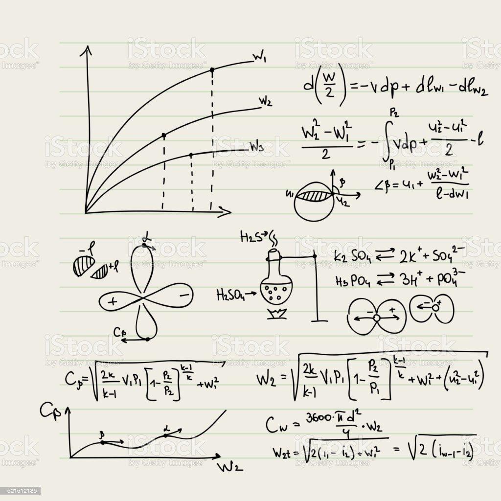 Padrão de vetor com fórmulas matemática - ilustração de arte em vetor