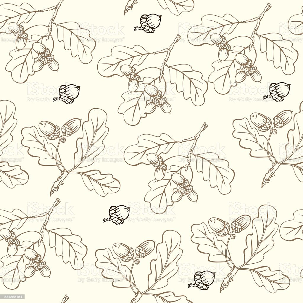 vector pattern with oak branches vector art illustration