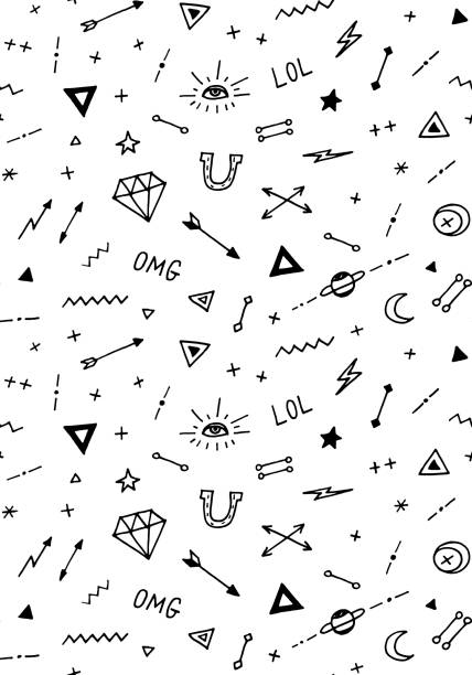 vector pattern with old school tattoo elements. black and white - diamond tattoos stock illustrations, clip art, cartoons, & icons