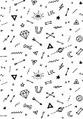 Vector pattern with old school tattoo elements. Black and white