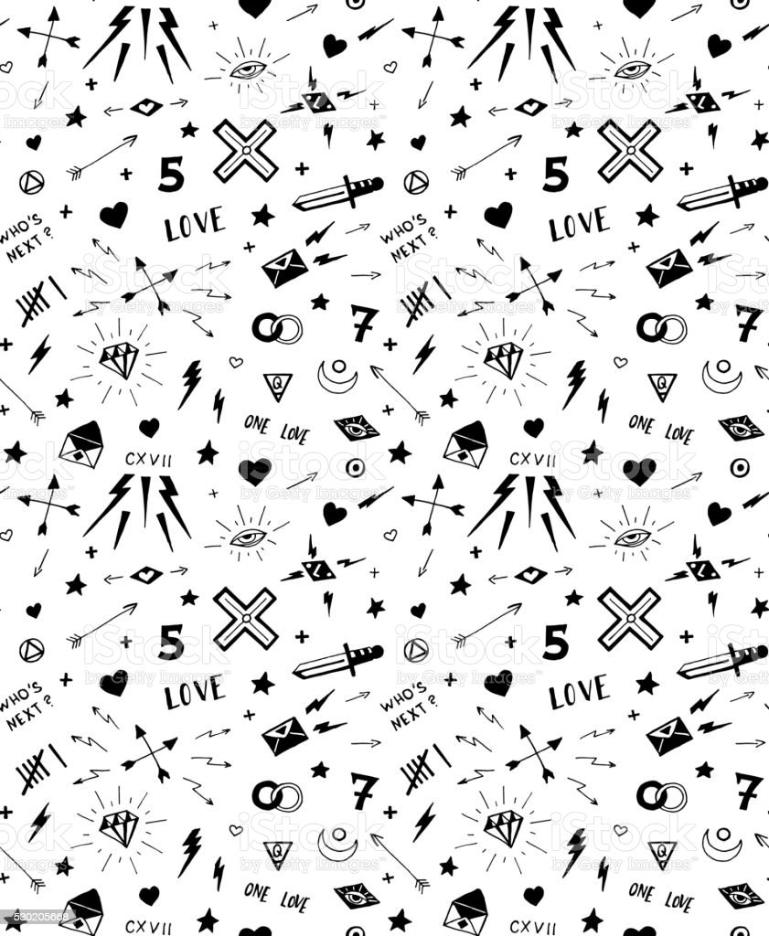 Vector pattern with old school tattoo elements black and white royalty free vector pattern