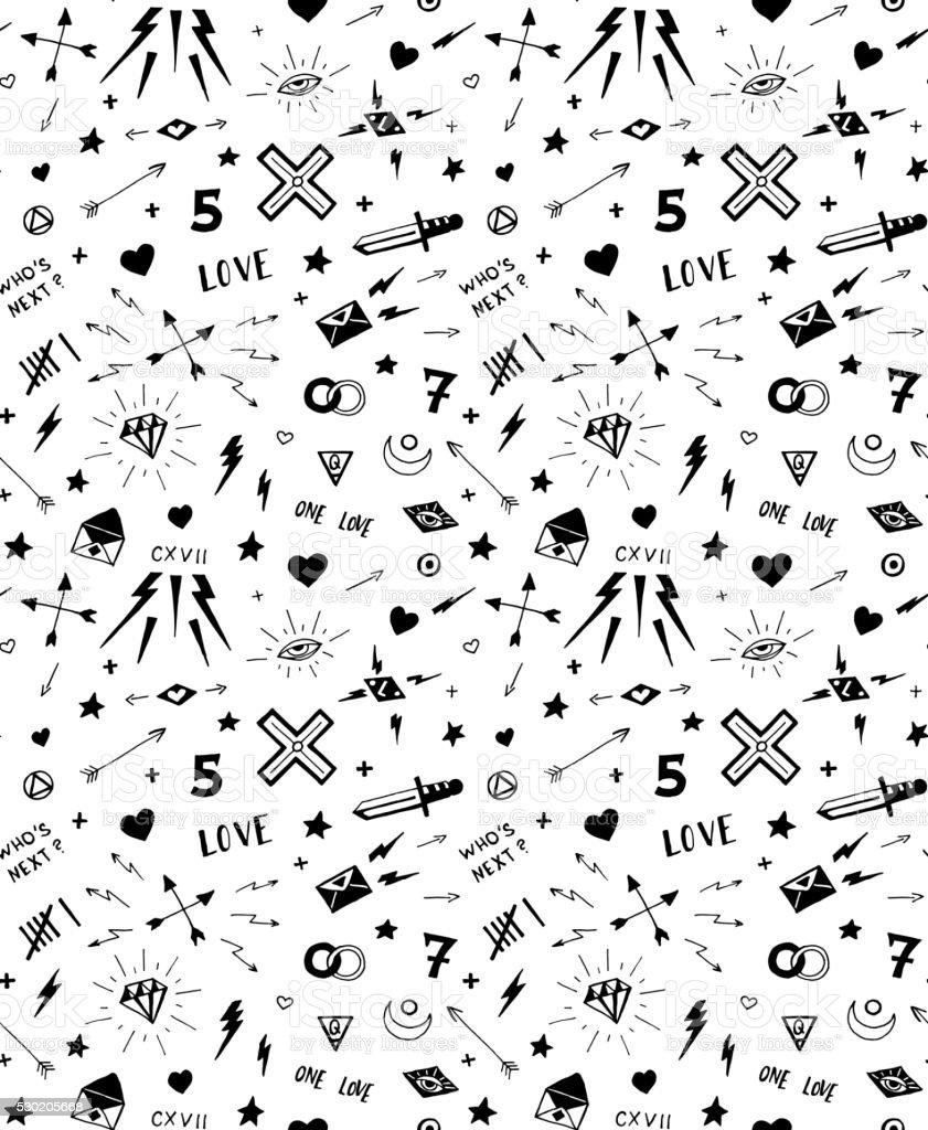 Vector de patrón con la vieja escuela tatuaje elementos. Blanco y negro - ilustración de arte vectorial