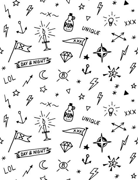 ilustrações, clipart, desenhos animados e ícones de padrão de vetor com tatuagem elementos velha escola. preto e branco - tatuagens de lua