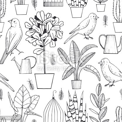 Vector seamless pattern  with  hand drawn plants and birds.