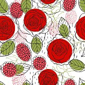 Floral background. Seamless vector pattern with hand drawn red roses