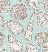 Seamless pattern with  hand-drawn seashells. Vector illustration EPS 10.