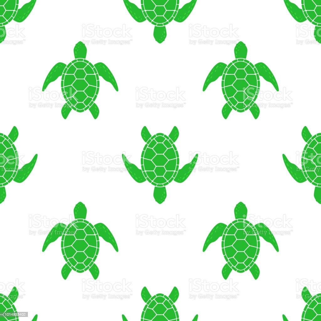 Ilustración De Patrón De Vector Con Tortugas Marinas Textura Con