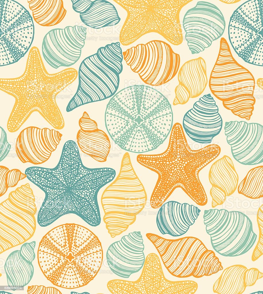 vector pattern with shells starfishes and urchins vector art illustration