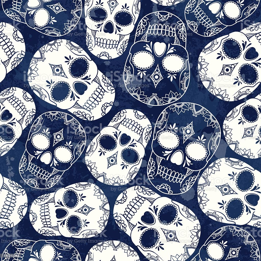 vector pattern with skulls vector art illustration