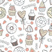 Hand drawn sweets and pastries for Valentine's Day on white background. Vector seamless pattern