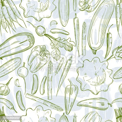 Vector  seamless pattern with hand drawn vegetables