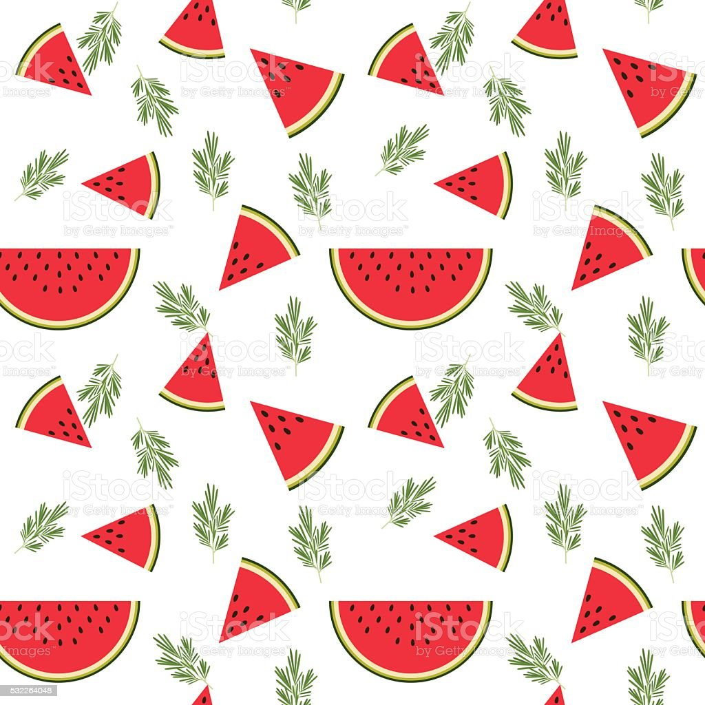 Vector pattern with watermelons vector art illustration