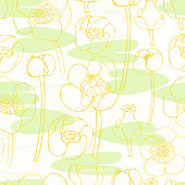 Vector  seamless pattern with yellow water lilies.  Sketch illustration