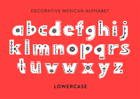 Vector patterned alphabet decorated with folk mexican ornaments.  Display lowercase font on a red background.