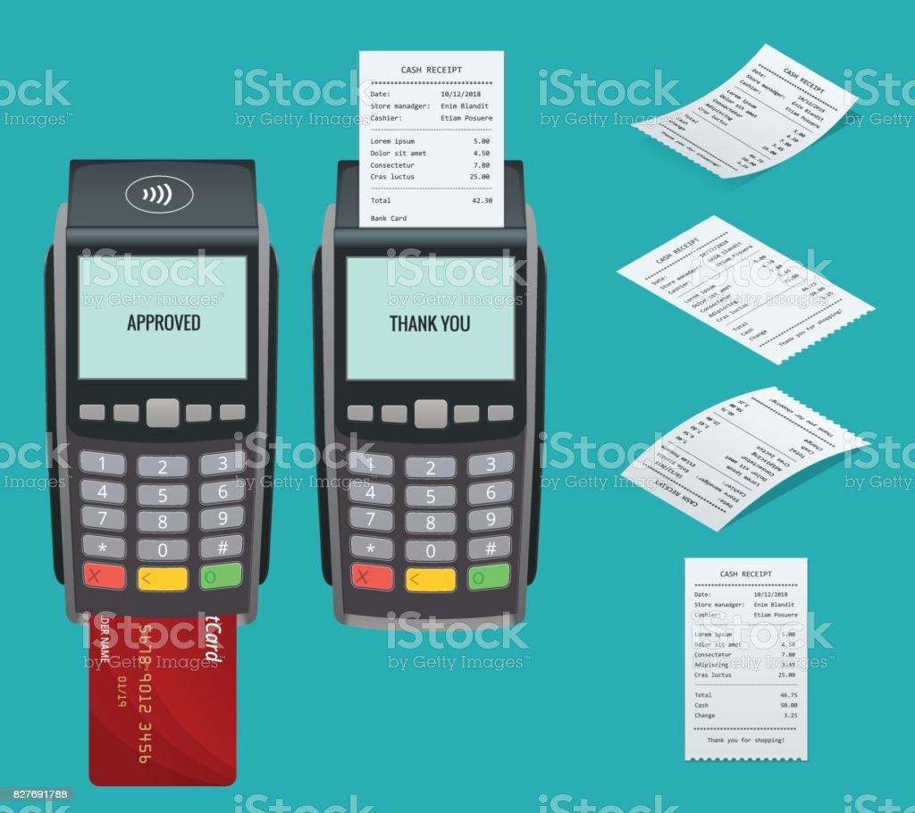 Vektör ödeme makine ve kredi kartı. POS terminal invoce banka kredi kartıyla ödeme doğruluyor. Düz tasarım vektör çizim. NFC ödeme kavramı. İzometrik NFC ödeme kavramı vektör sanat illüstrasyonu