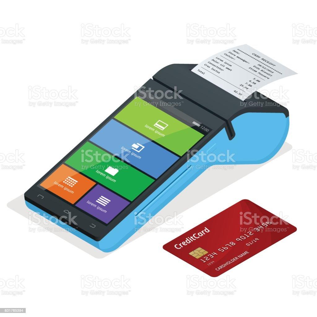 Vektör ödeme makine ve kredi kartı. POS terminal invoce banka kredi kartıyla ödeme doğruluyor. Düz tasarım izometrik çizimde. NFC ödeme kavramı vektör sanat illüstrasyonu