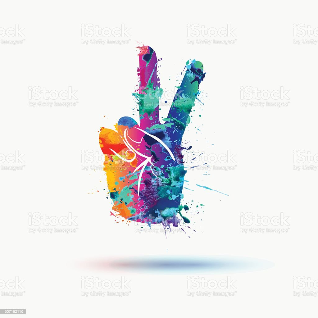 Vector peace hand symbol in watercolor splashes