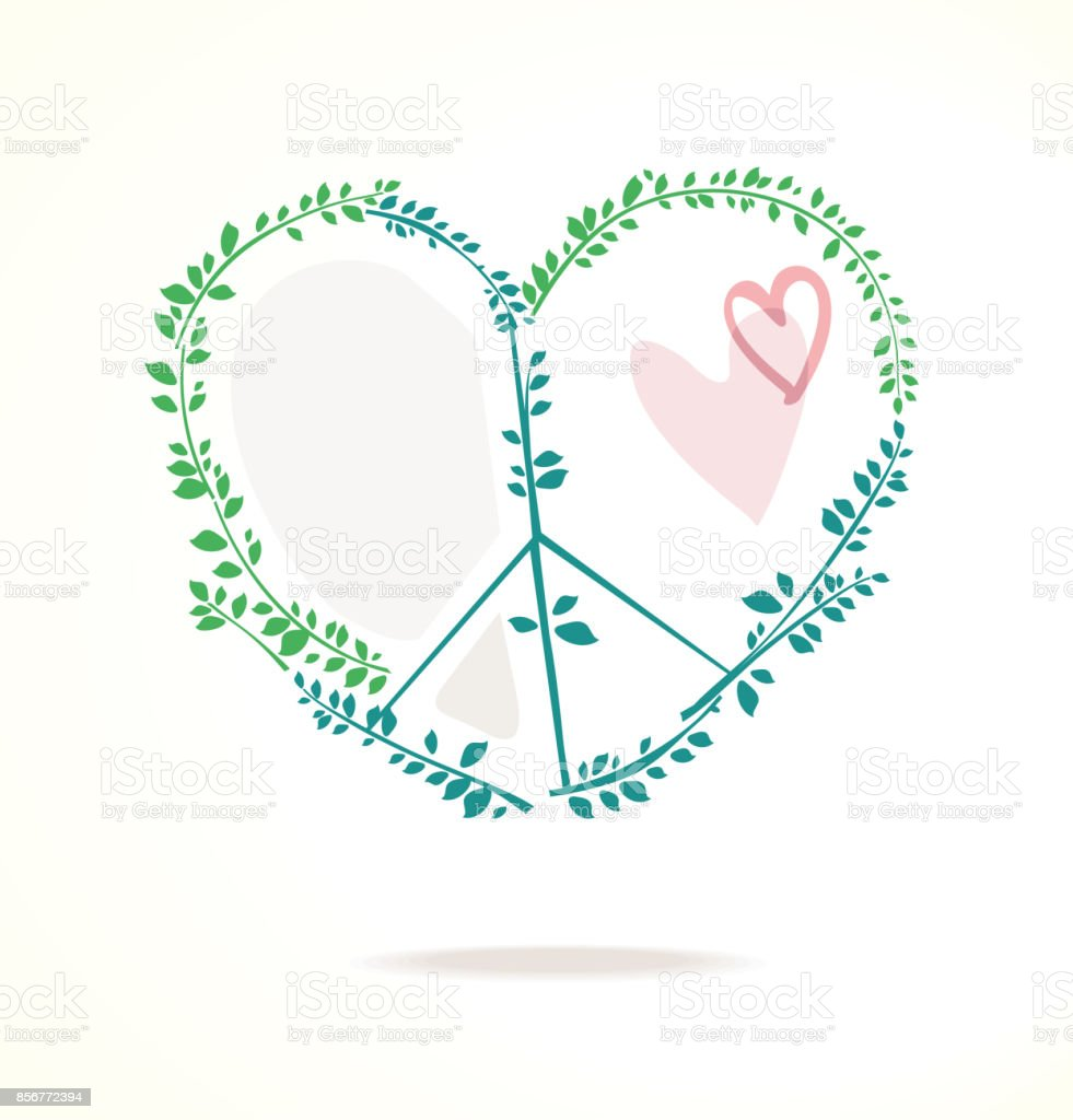 Vector Peace Symbol With Heart And Green Foliage Stock Vector Art