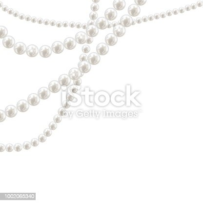 Vector pearl necklace on light background illustration