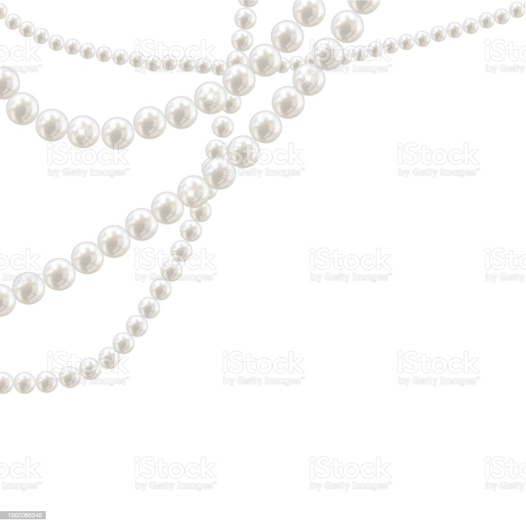 Vector pearl necklace on light background – artystyczna grafika wektorowa