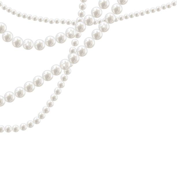 Vector pearl necklace on light background Vector pearl necklace on light background illustration bead stock illustrations