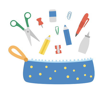 Vector pencil case with stationery. Back to school educational clipart. Cute flat style supplies and writing materials. Box with colored pencils, glue, pen, sharpener, ruler, scissors, paper clip.