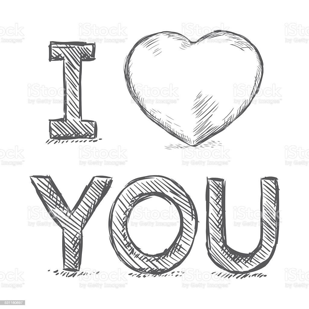 Vector pencil sketch illustration i love you stock