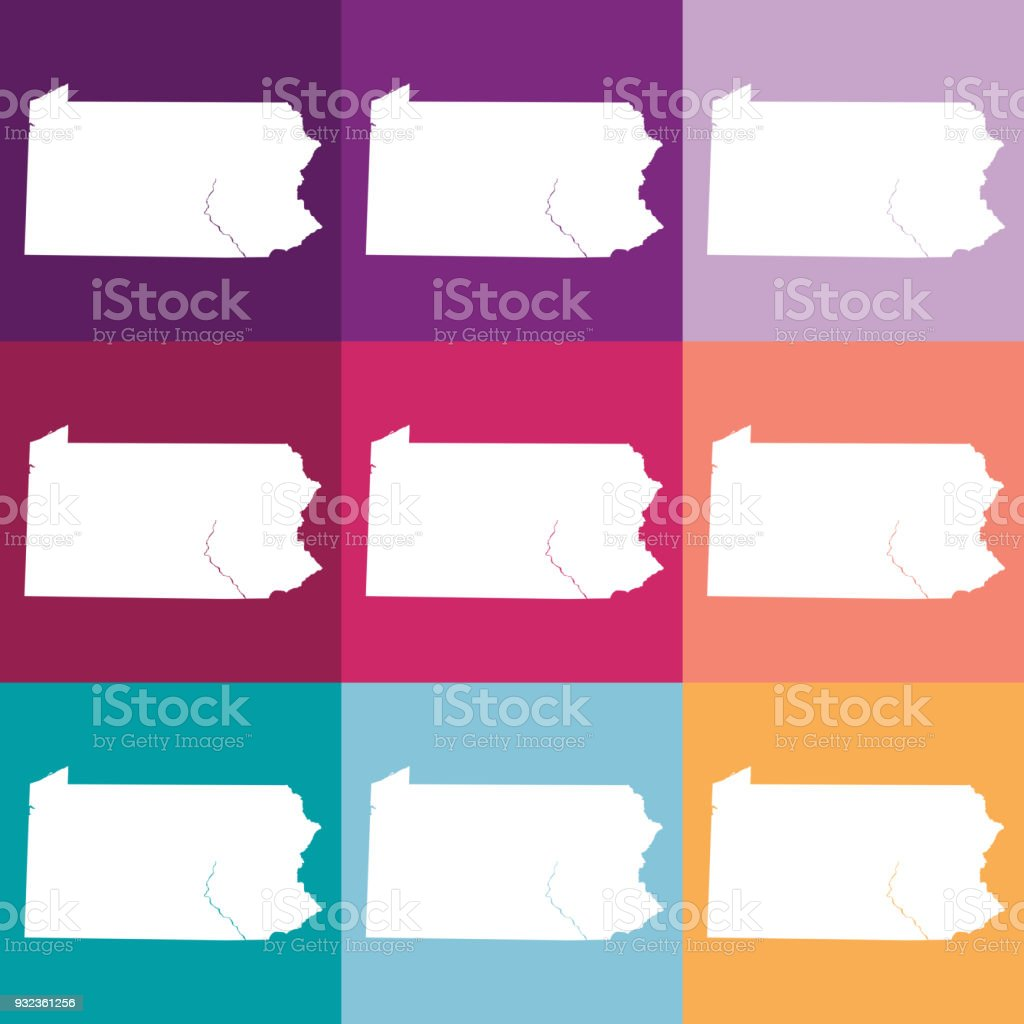 Pennsylvania In Usa Map.Vector Pennsylvania Usa Map In Muted Colors Stock Vector Art More