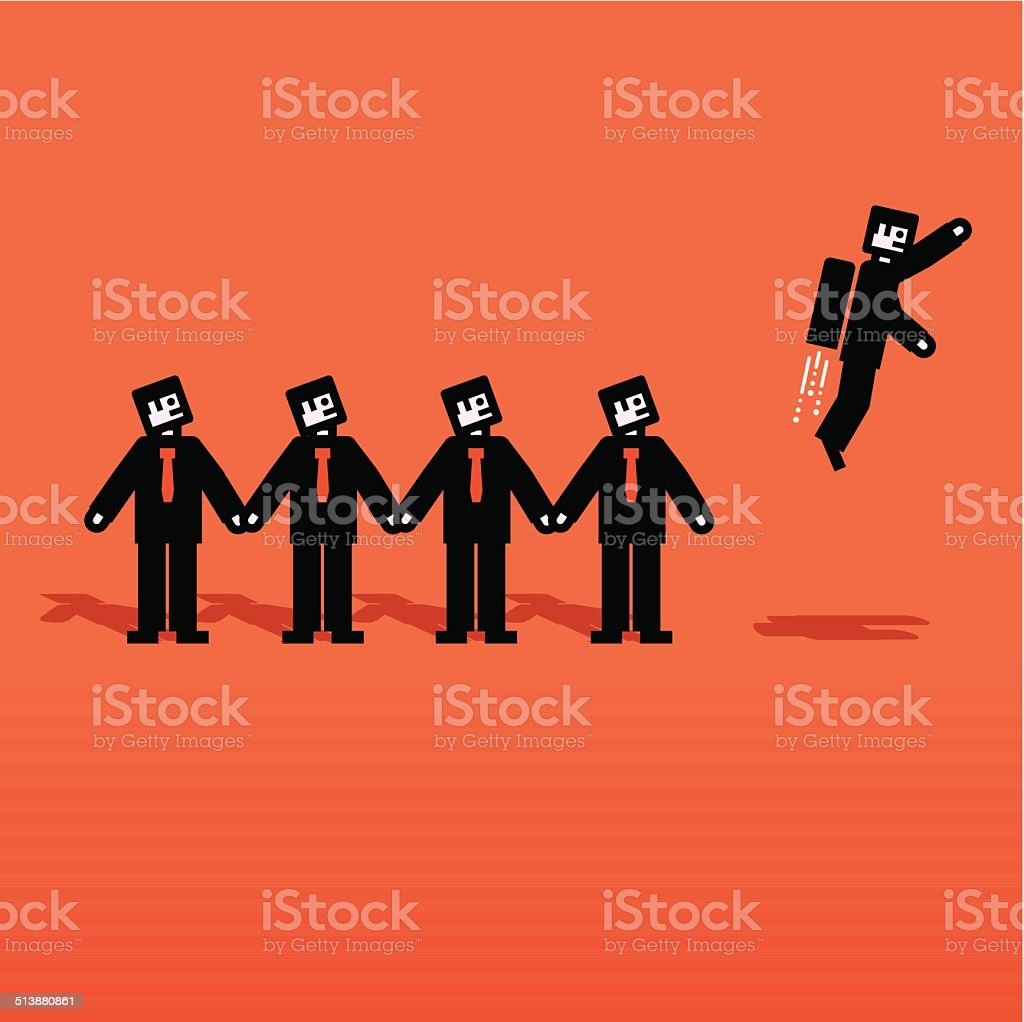 Vector people chain with one flying vector art illustration