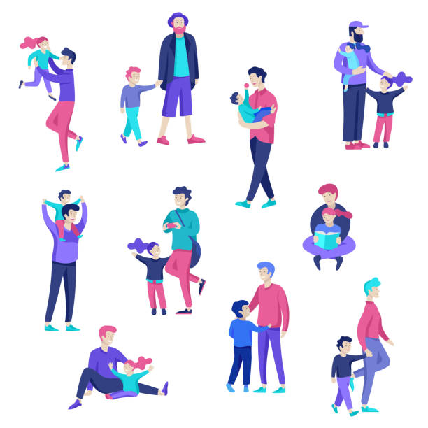 vector people character. father and him child spending time together - bedtime story stock illustrations
