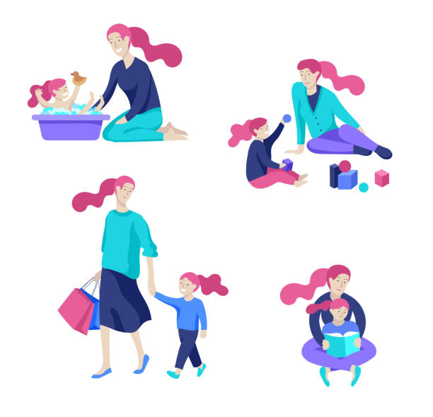 vector people character. mother and daughter spending time together - bedtime story stock illustrations
