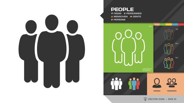 stockillustraties, clipart, cartoons en iconen met vector mensen groep zwarte silhouet en bewerkbare lijn dun overzicht één kleur icoon met persoon en teamwork symbolen. - drie personen