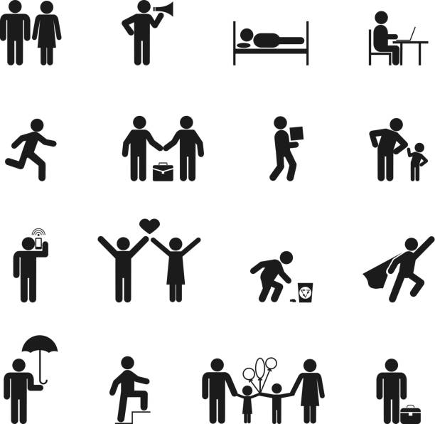 Vector People Icons Vector People Icons black silhouette on white background back lit stock illustrations