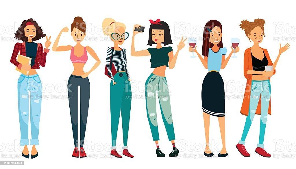 Vector People Illustration Set with Six Beautiful Women vector art illustration
