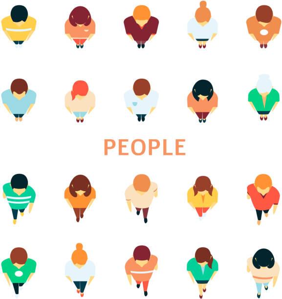 群集トップビューアイコンセット内のベクトル人 - 人 俯瞰点のイラスト素材/クリップアート素材/マンガ素材/アイコン素材