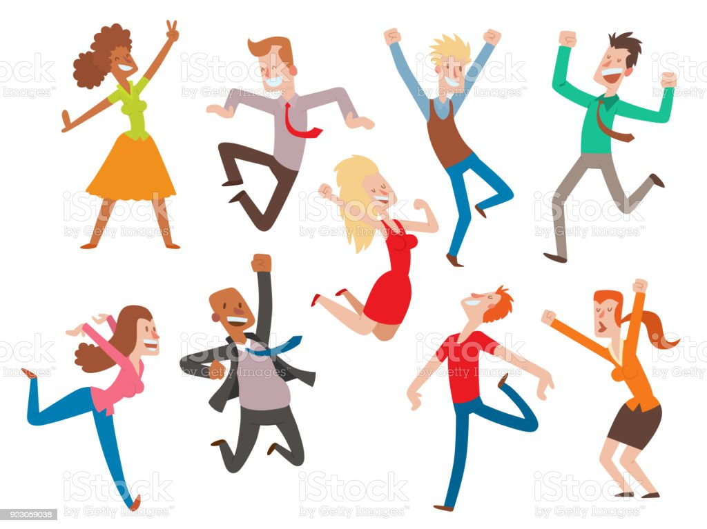 vector people jumping celebration party illustration happy