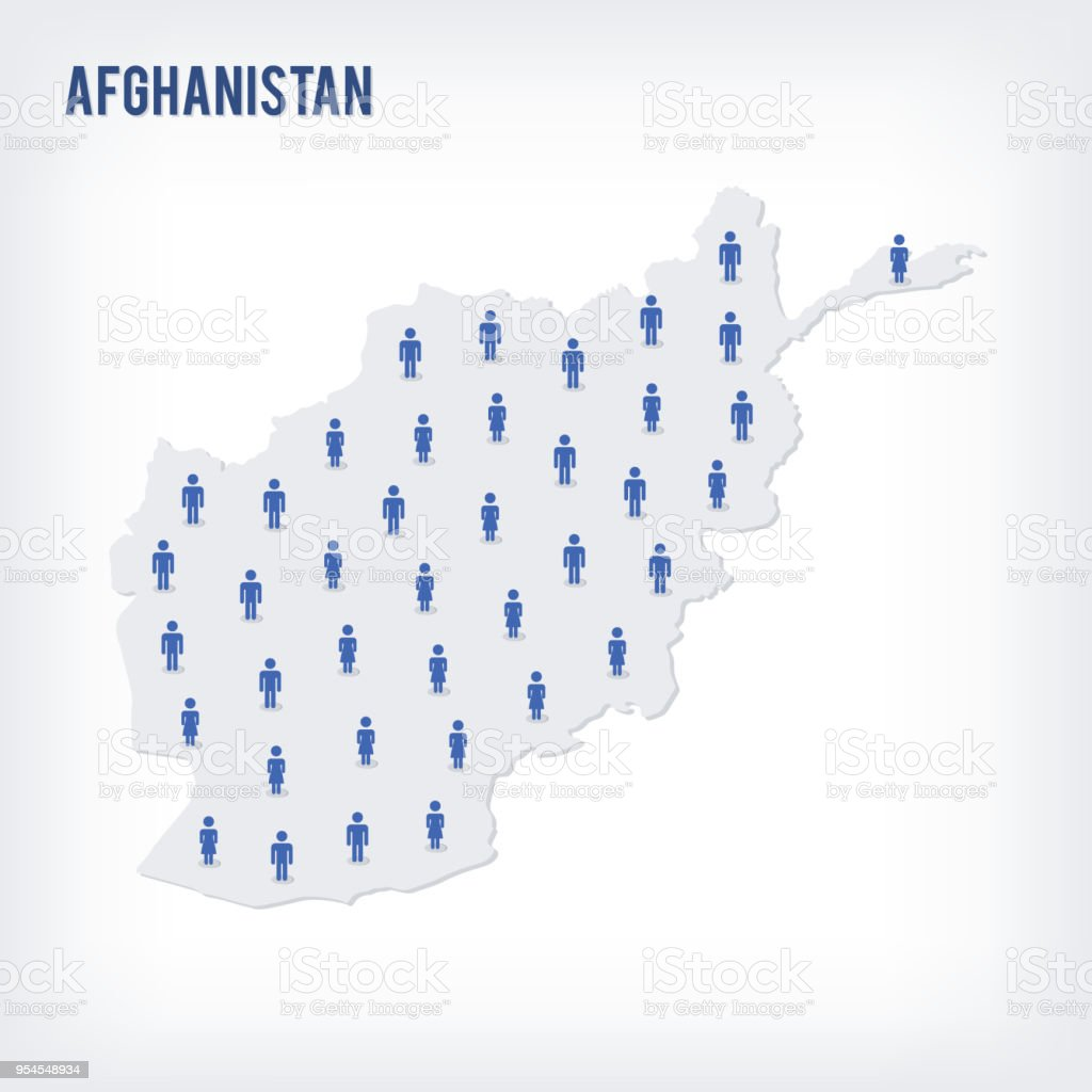 Population Concept Map.Vector People Map Of Afghanistan The Concept Of Population Stock