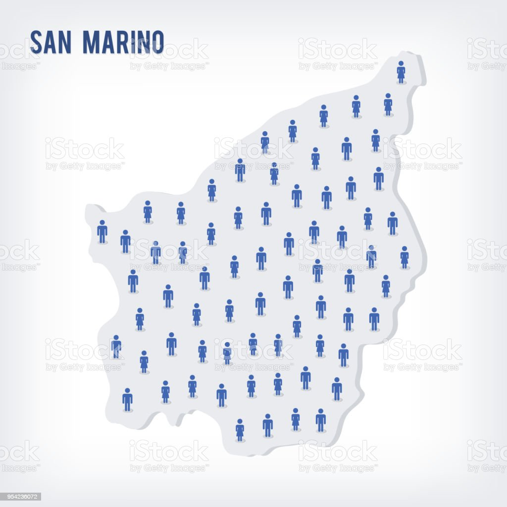 Vector people map of San Marino . The concept of population. vector art illustration