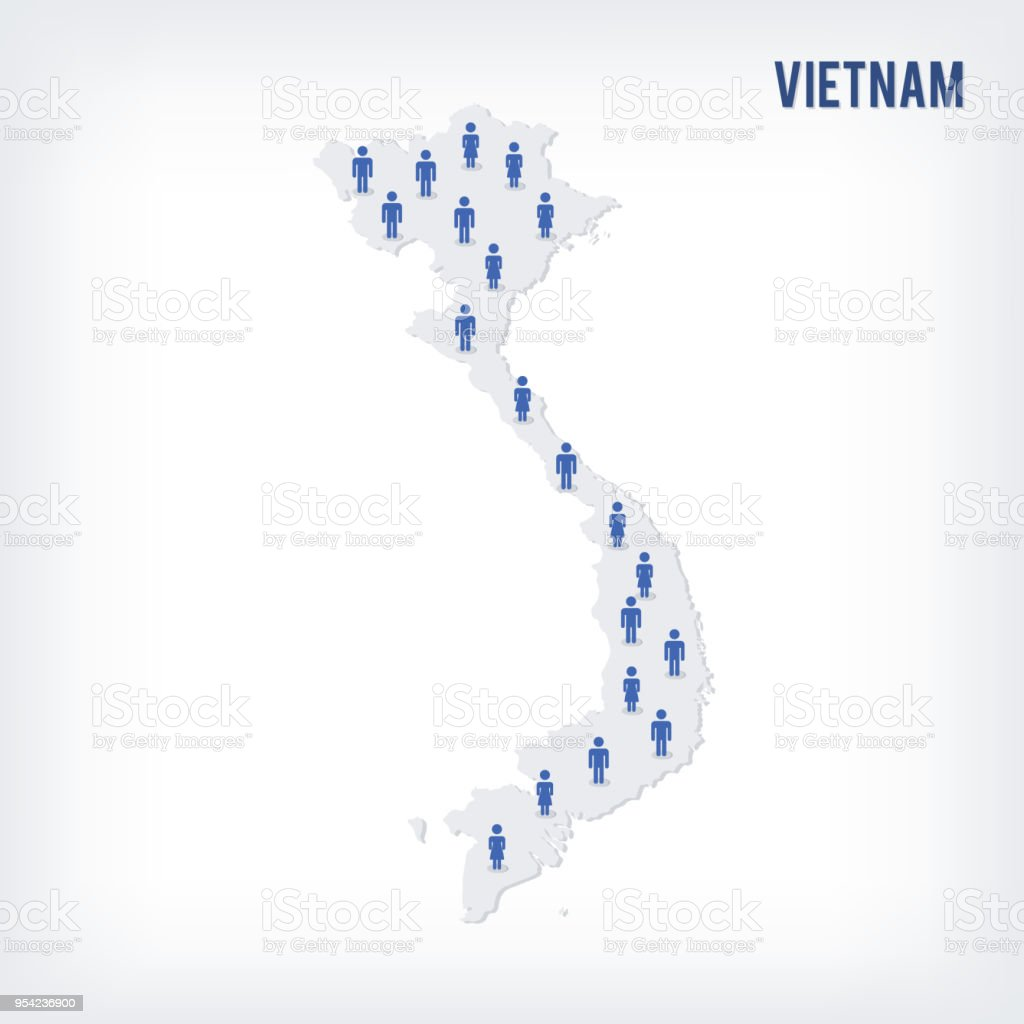 Population Concept Map.Vector People Map Of Vietnam The Concept Of Population Stock Vector