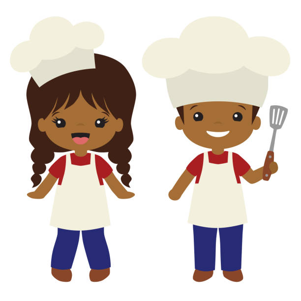Vector People of Color Cookout Grill Cooks Boy and Girl Illustrations vector art illustration