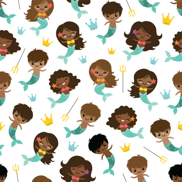 Vector People of Color Mermaids and Mermen Seamless Pattern Background vector art illustration