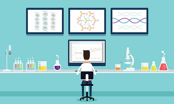 vector people scientists research in laboratory process vector art illustration