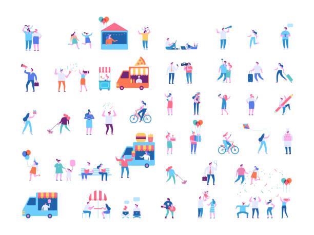 stockillustraties, clipart, cartoons en iconen met vector mensen instellen geïsoleerd op witte achtergrond. - festival