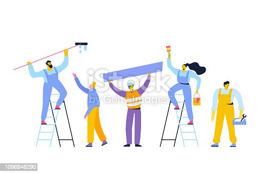People occupations. Worker. Repairs. Male and female characters vector set. Flat vector characters isolated on white.