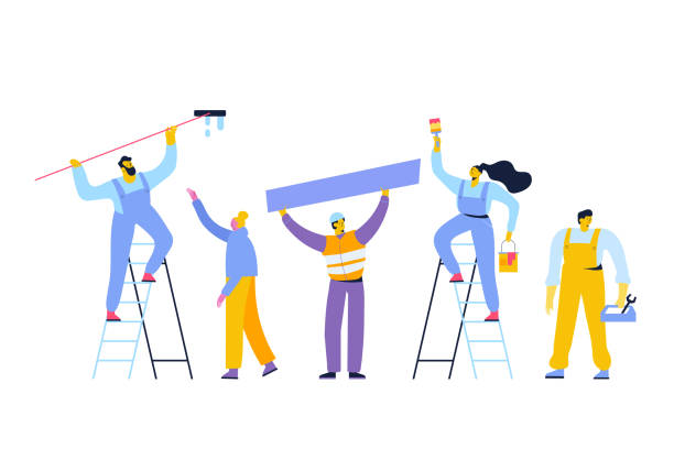 Vector people set isolated on white background. People occupations. Worker. Repairs. Male and female characters vector set. Flat vector characters isolated on white. house painter stock illustrations